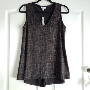 NWT Charming Charlie Black & Gold Sleeveless Top